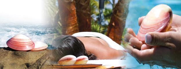 Mulher recebendo massagem com conchas